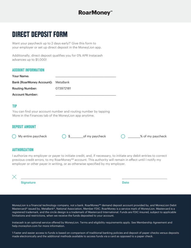 MoneyLion Direct Deposit Form Roarmoney 210920